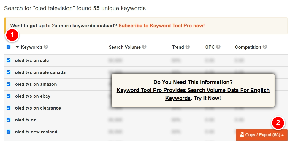 Keyword Tool Export
