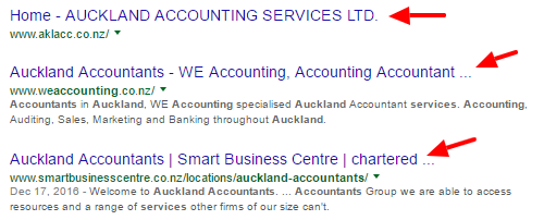Google search results for Auckland Accounting Services