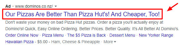 A made-up Domino's google ad