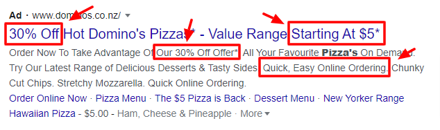 Dominos selling points google ads