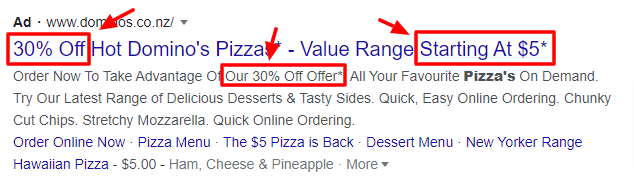 Dominos pricing offers within google ads