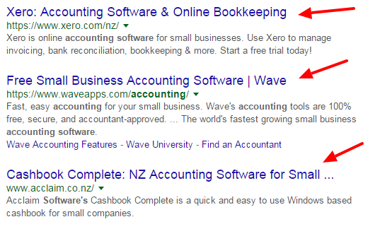 Google search results for Accounting Software