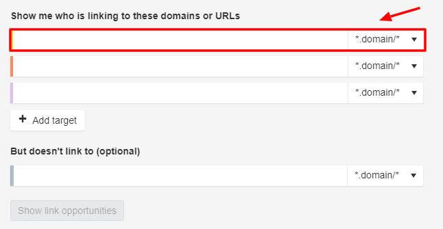 Link intersect competitor URLs
