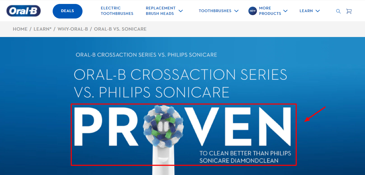 Oral-B vs Philips Sonicare landing page