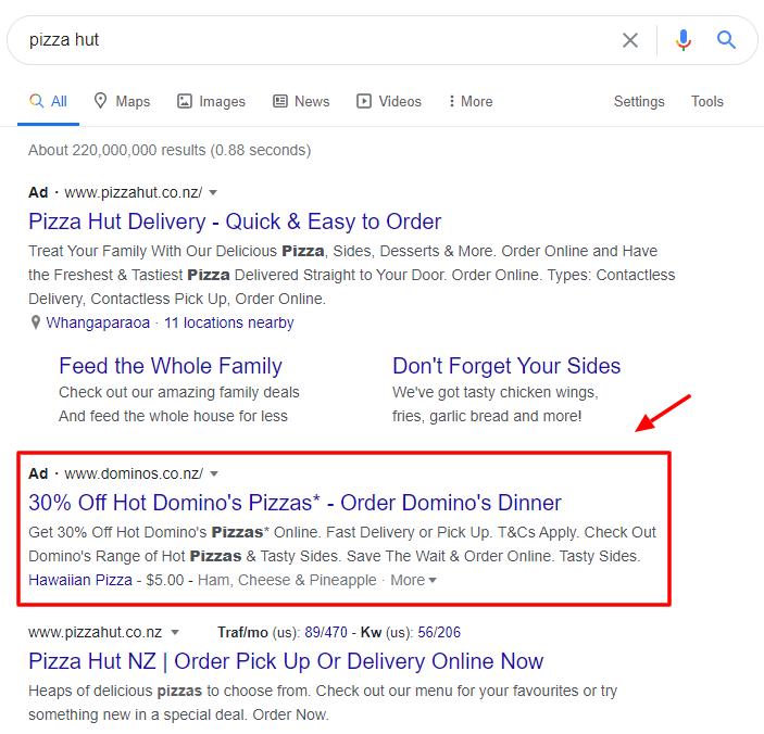 Pizza hut search results