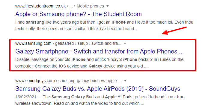 Samsung vs apple iphone search results