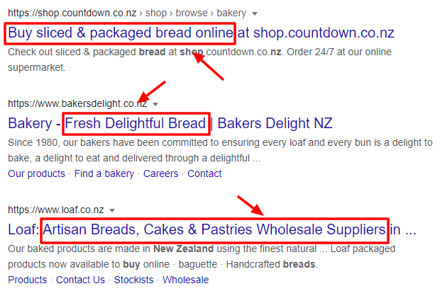 'buy bread' search results