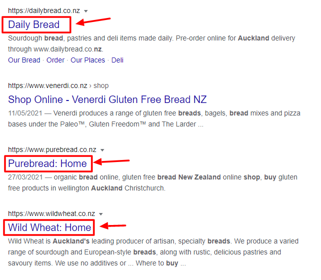 """Less optimised """"buy bread"""" results"""